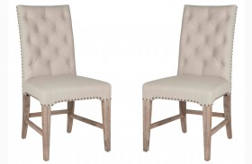 Wilshire Stone Wash Natural Fabric Dining Chair Set of 2