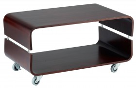 Contour Walnut Rolling Coffee Table
