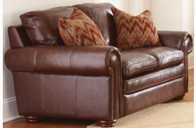 Yosemite Chestnut Leather Loveseat with 2 Accent Pillows