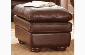 Yosemite Chestnut Leather Ottoman