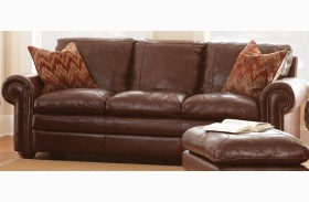 Yosemite Chestnut Leather Sofa with 2 Accent Pillows
