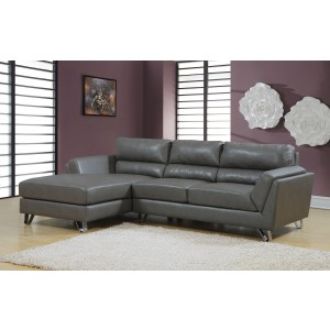 Charcoal Gray Bonded Leather Match Sofa Sectional From