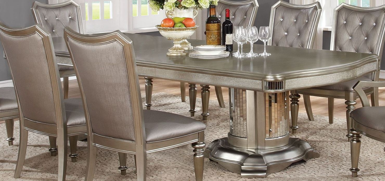 Danette Metallic Platinum Dining Table from