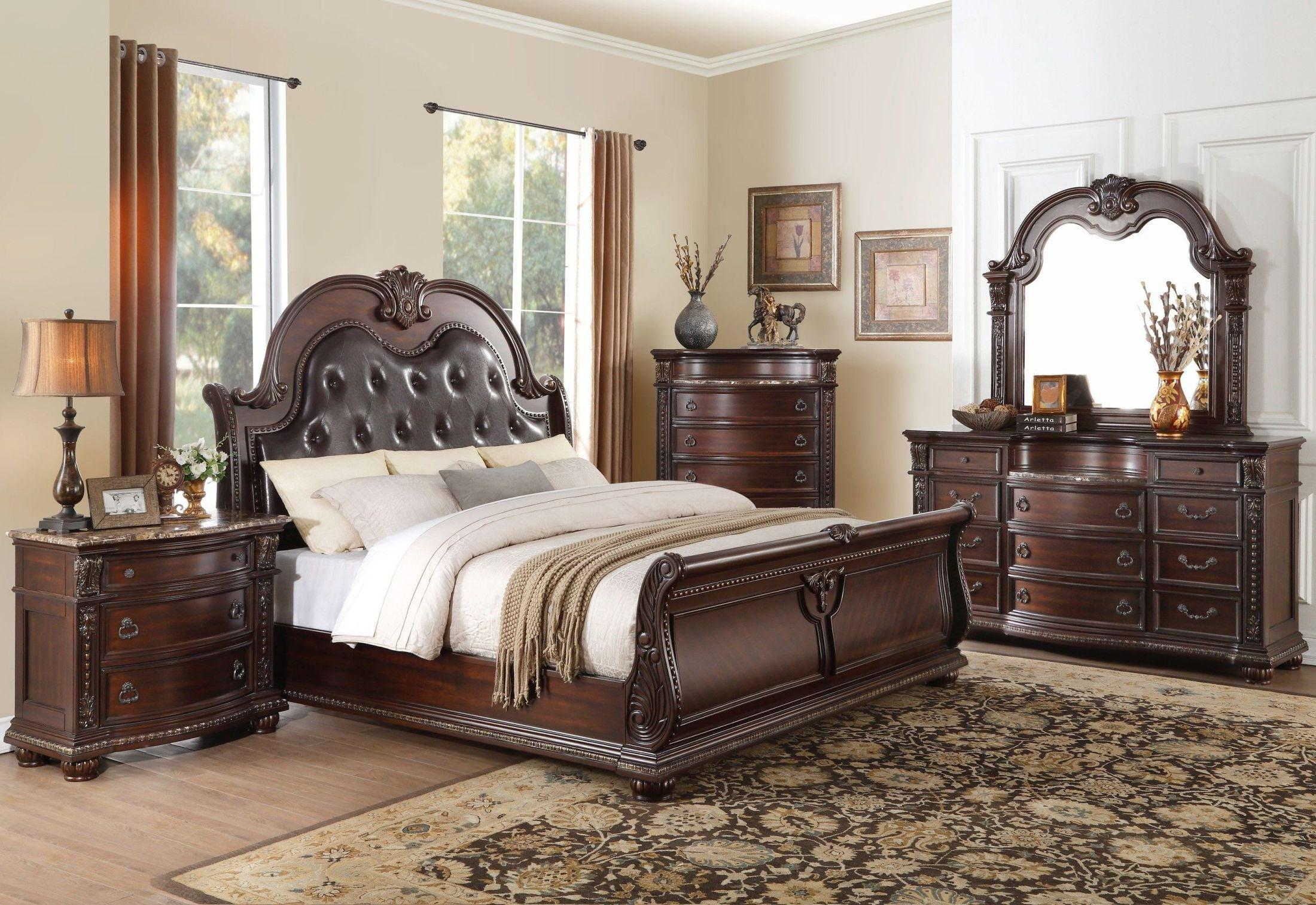 Cavalier Dark Cherry Sleigh Bedroom Set from Homelegance | Coleman ...