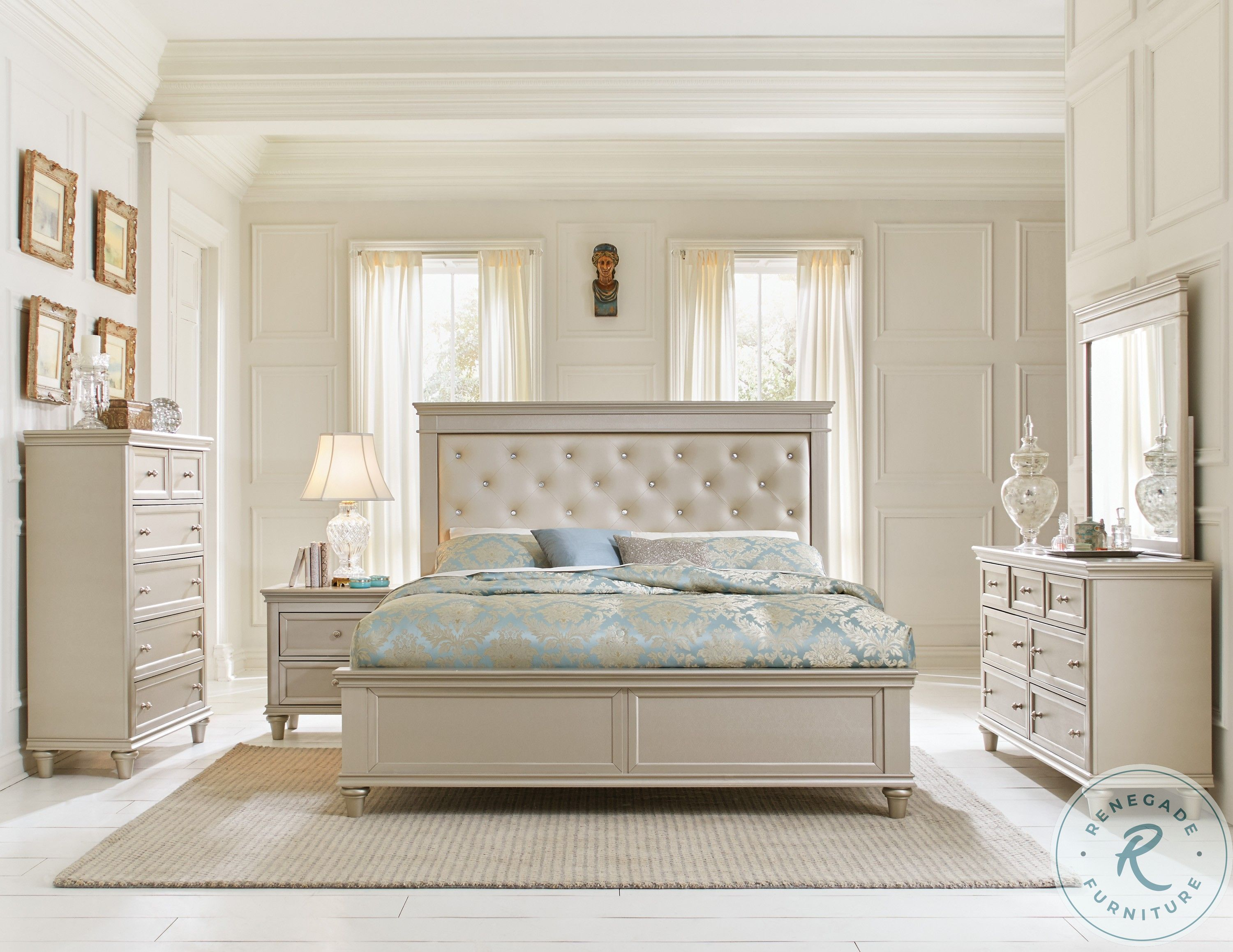 Realyn Chipped Two Tone Upholstered Panel Bedroom Set From Ashley Coleman Furniture