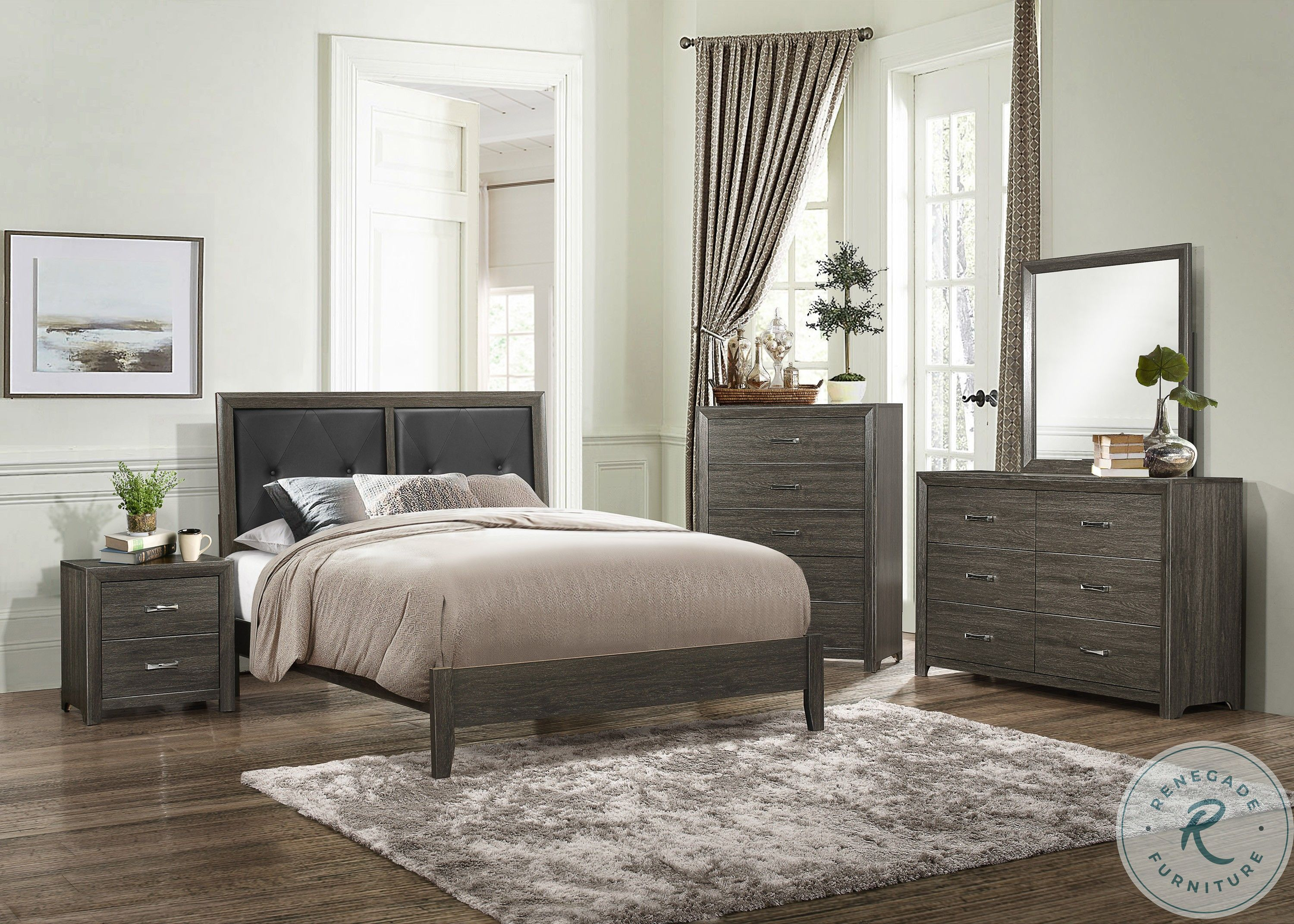 Johurst Grayish Brown Panel Bedroom Set With Storage Footboard From Ashley Coleman Furniture