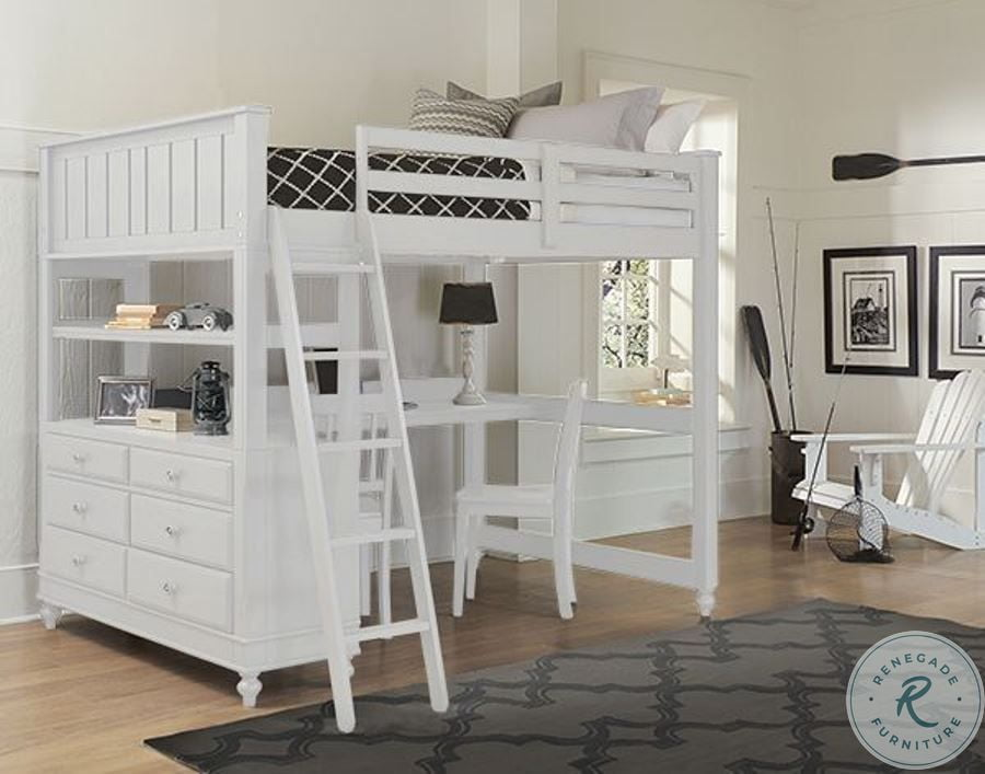 Lake House White Full Loft Bed With Desk From Ne Kids Homegallerystore Com 1045nd