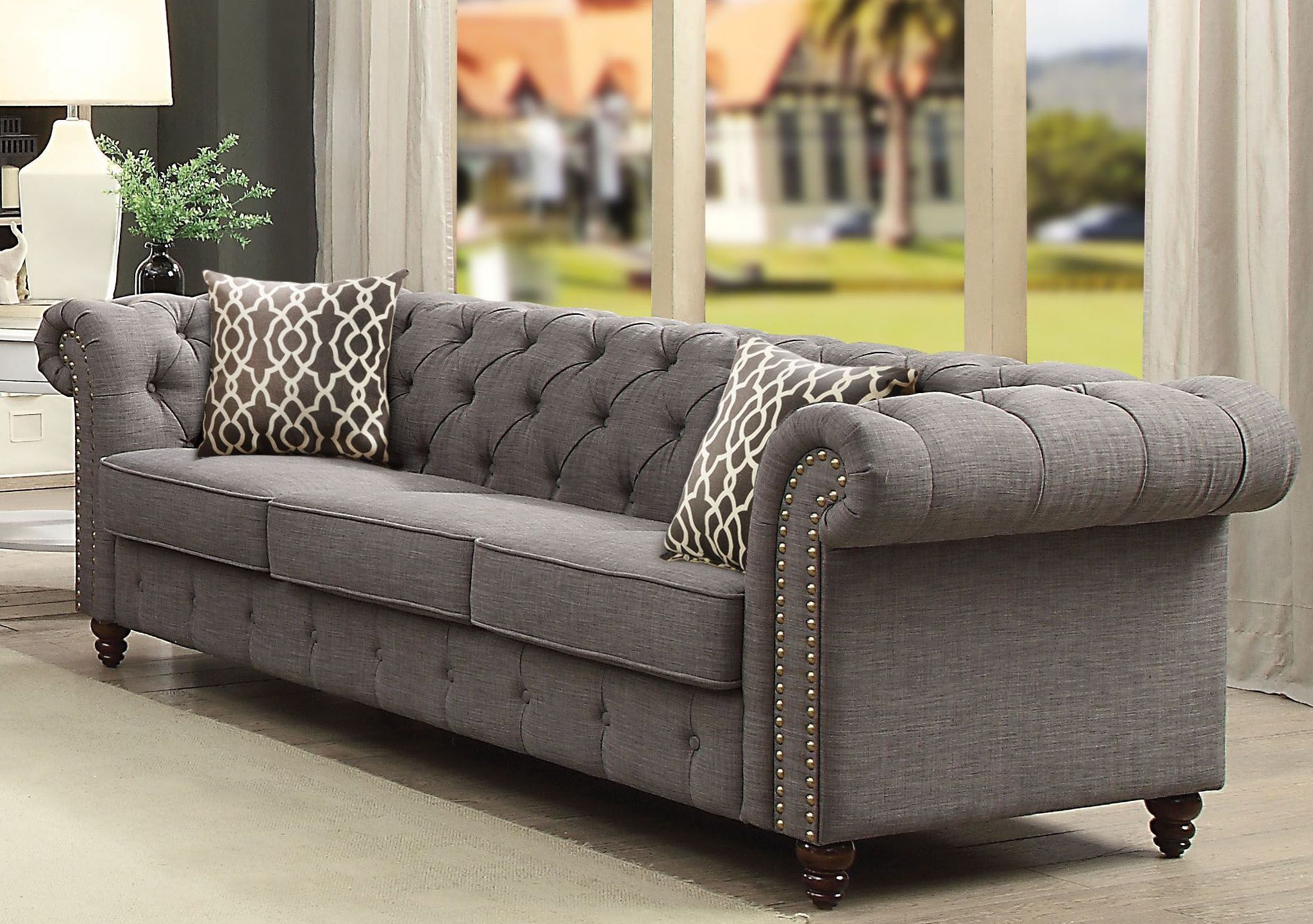 Aurelia Gray Linen Sofa from Acme