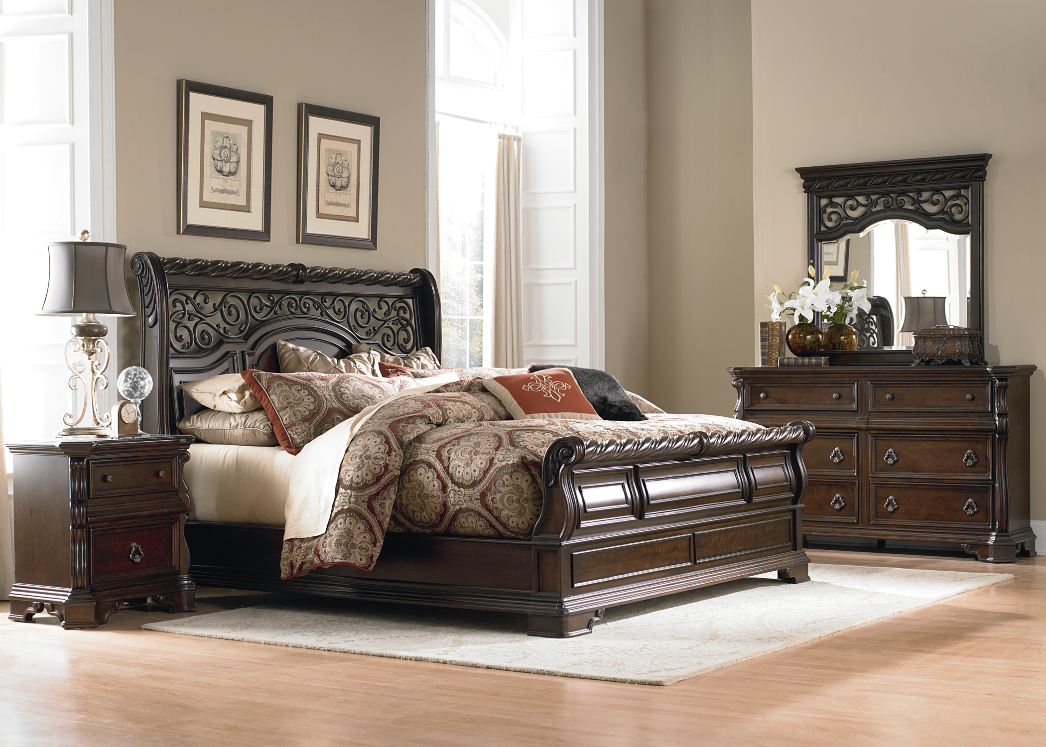 Arbor place sleigh bedroom set from liberty 575 br qsl coleman furniture