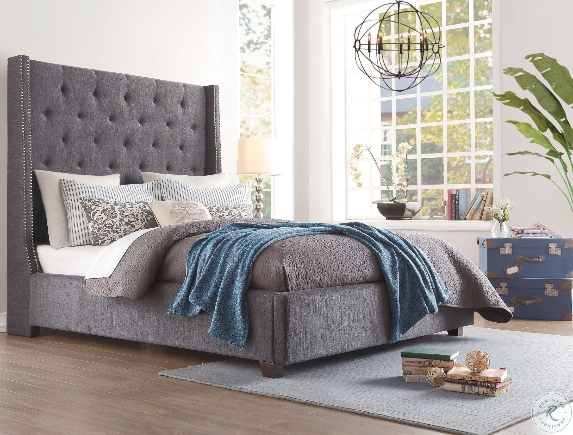 Picture of: Fairborn Dark Gray Cal King Upholstered Platform Bed From Homelegance Coleman Furniture