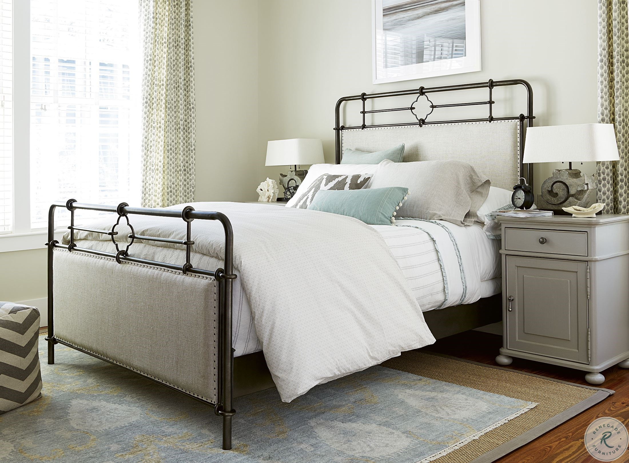 Image of: Dogwood Low Tide King Upholstered Metal Bed From Paula Deen Homegallerystore Com 596320b
