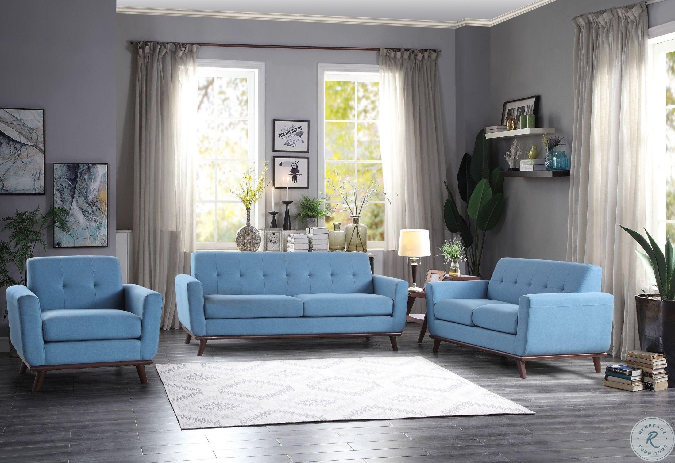 Rittman Blue Living Room Set from Homelegance | Coleman Furniture