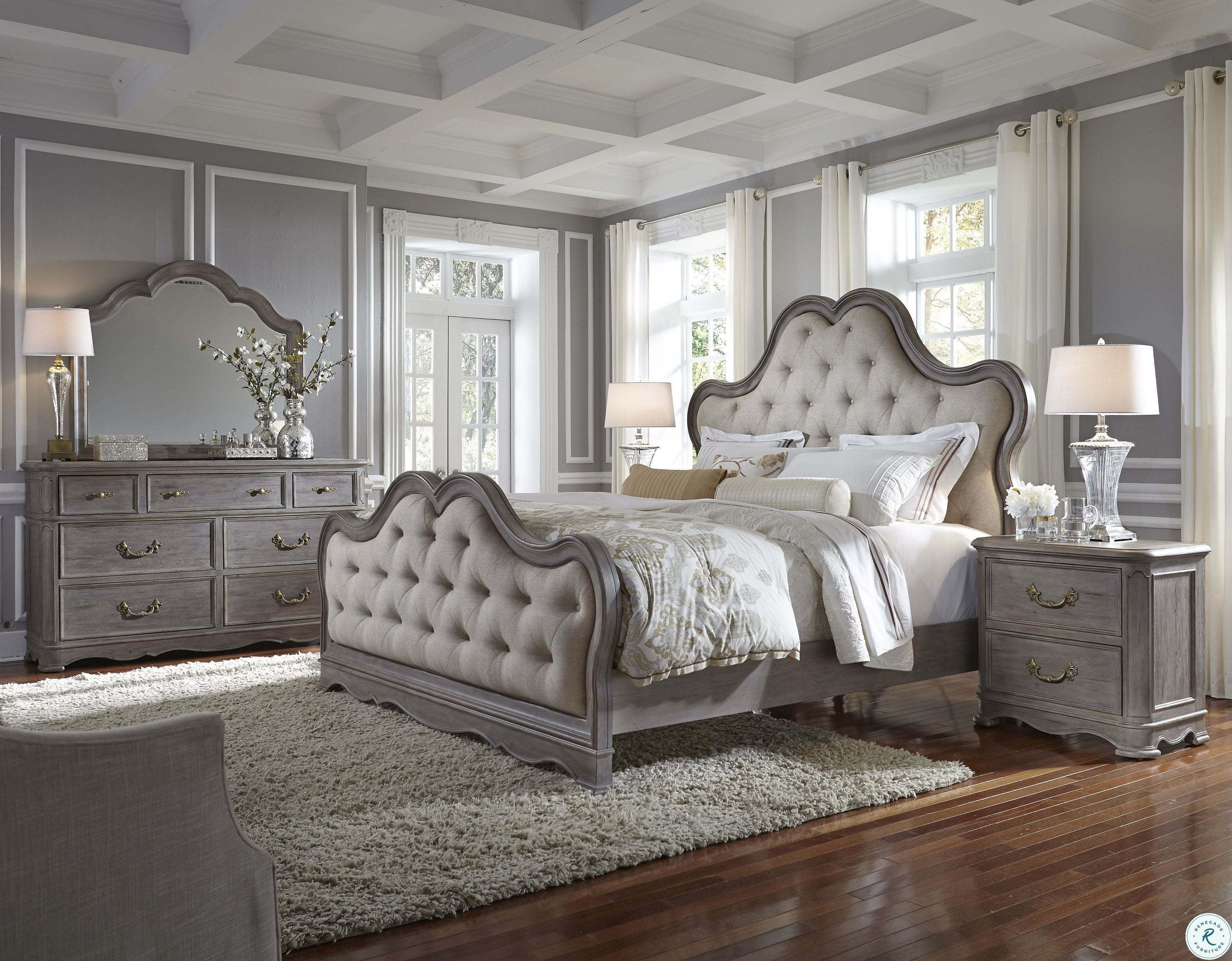 Simply Charming Warm Weathered Grey Upholstered Panel Bedroom Set From Pulaski Homegallerystore Com P0431 90 91 72