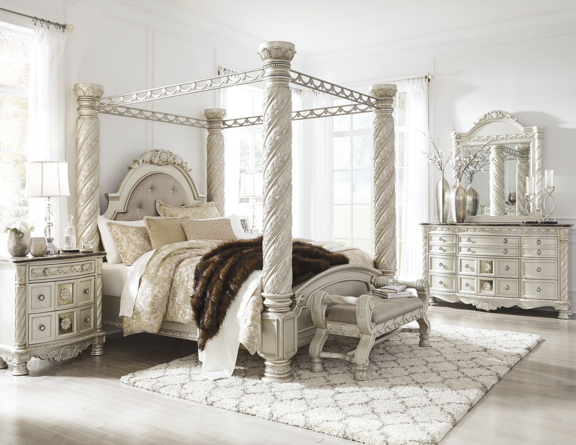 Cassimore North Shore Pearl Silver Upholstered Poster Canopy Bedroom Set  From Ashley | Coleman Furniture