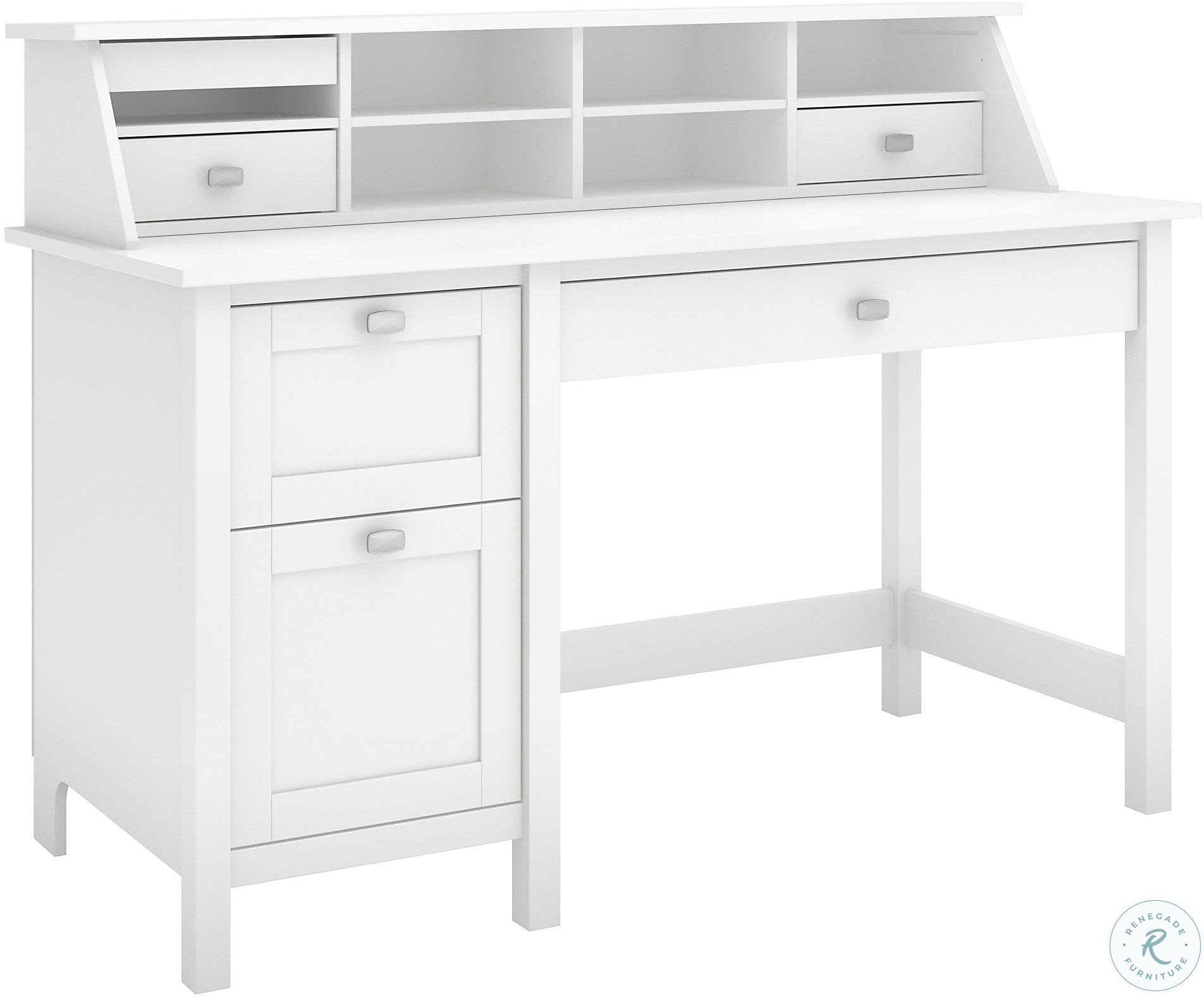 Broadview Pure White Computer Desk With 2 Drawer Pedestal And Organizer From Bush Furnitureetc Com Bd005wh