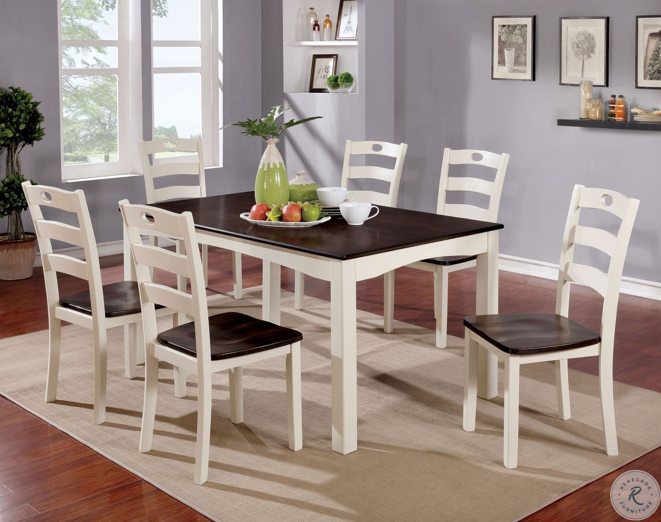 1fe5ff9f4bd3 Liliana 7 Piece White and Walnut Dining Table Set from Furniture of ...