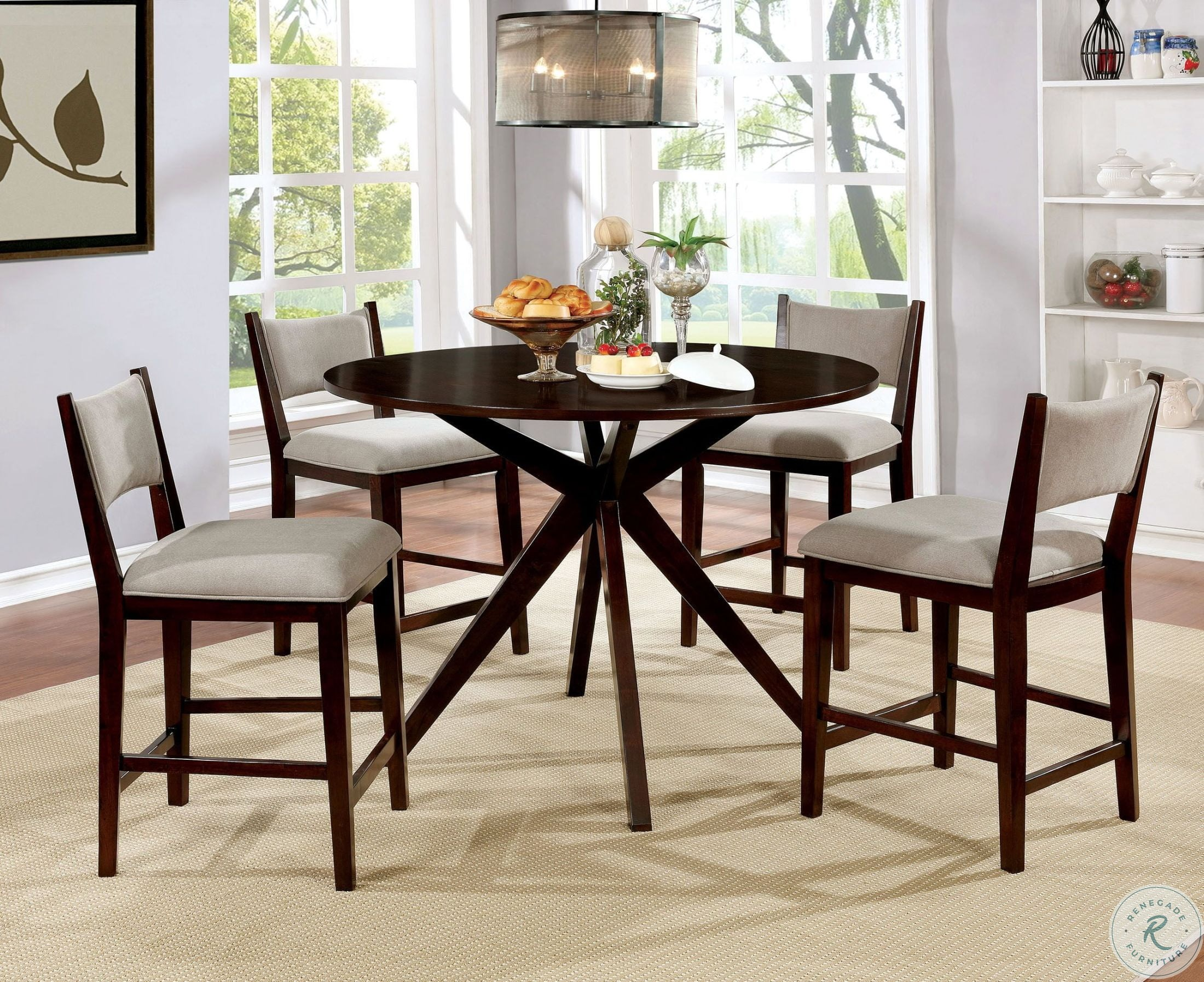 a023631dd0 Image of ensemble item Kaidence Brown Cherry Round Counter Height Dining  Room Set