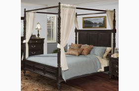 Martinique Rubbed Black Canopy Bed With Drapes