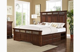 Madera African Chestnut Panel Storage Bed