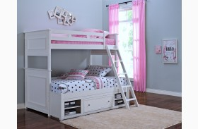 Megan Youth White Bunk with Storage
