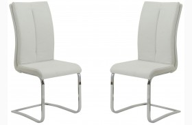 Lowry White and Chrome Finish Side Chair Set of 2