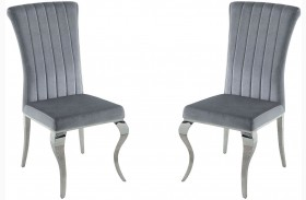 Carone Grey and Chrome Finish Side Chair Set of 4