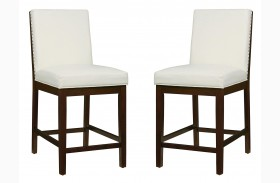 Couture Elegance White Counter Height Chair Set of 2