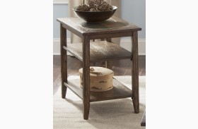 Brookstone Weathered Oak Finish Chair Side Table