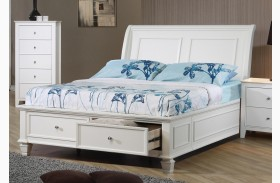 Selena White Youth Sleigh Storage Bed