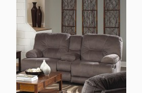 Noble Slate Reclining Loveseat with Console