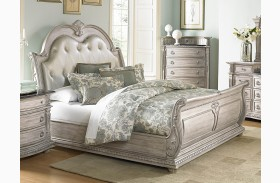 Palace II White Wash Bonded Leather Sleigh Bed
