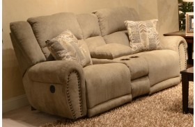 Stafford Platinum Reclining Loveseat with Console