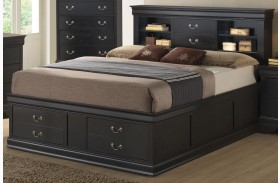 Louis Philippe Black Storage Bed