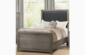 Woodrow Black Youth Upholstered Panel Bed