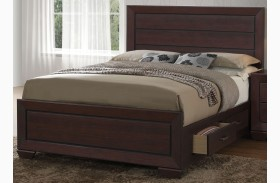 Fenbrook Dark Cocoa Panel Storage Bed