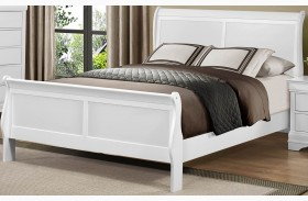 Mayville Burnished White Sleigh Bed