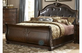 Hillcrest Manor Genuine Leather Sleigh Bed