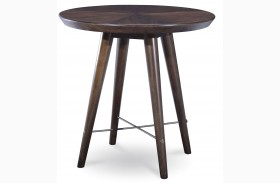 Epicenters Walnut Finish Lake Round End Table
