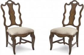Continental Weathered Nutmeg Splat Back Dining Side Chair Set of 2