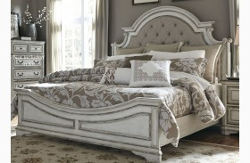 Magnolia Manor Antique White Upholstered Panel Bed