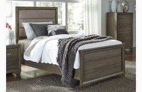 Hartly Gray Wash Youth Upholstered Panel Bed