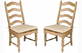 Homecoming Vintage Pine Ladderback Dining Chair Set of 2