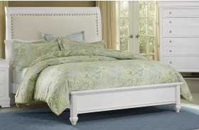 French Market Soft White Youth Upholstered Panel Bed
