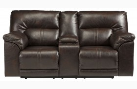 Barrettsville DuraBlend Chocolate Reclining Console Loveseat