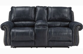 Milhaven Navy Finish Double Reclining Console Loveseat