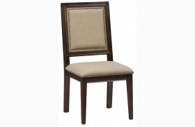 Geneva Hills Rustic Brown Finish Upholstered Chair Set of 2