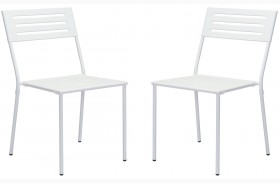 Wald White Finish Dining Chair Set of 2
