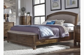 Avalon III Pebble Brown Upholstered Storage Bed