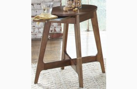 Landon Oval Blonde Finish Chair Side Table