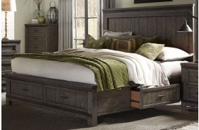 Thornwood Hills Rock Beaten Gray Three Sided Panel Storage Bed